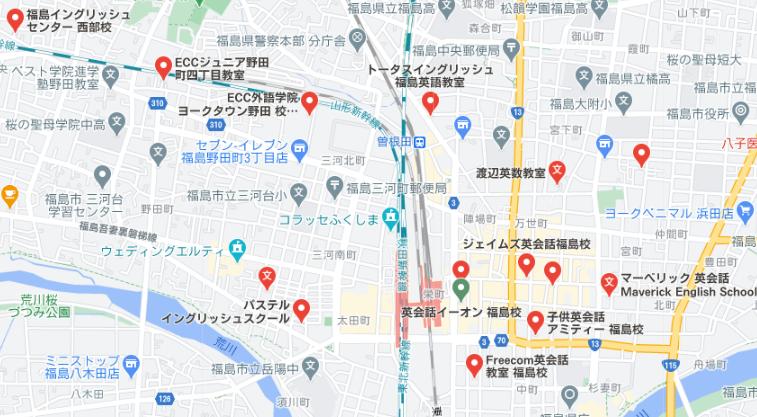 福島県地図でみる英会話教室